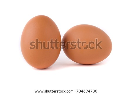 Two Eggs isolated on white background #704694730