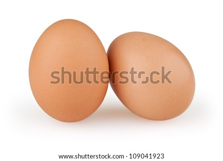 Two eggs isolated on white background with clipping path