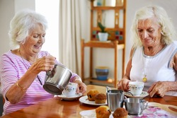 Two elderly women having tea and muffins together