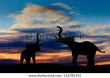 Two elephant silhouettes trumpeting in the sunset with cloudy sky