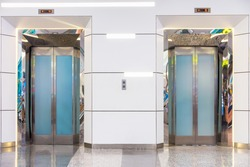 Two elevator in department store with decorative interior, Building elevator.