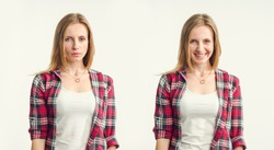 Two emotionally opposite female portraits. First face sad and serious. Second portrait is joyful and cheerful. Woman standing on light background.