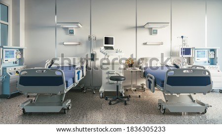 Two empty bed in a hospital room with medical equipment. 3d illustration Photo stock ©