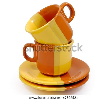 Two empty coffee cups on white background - stock photo