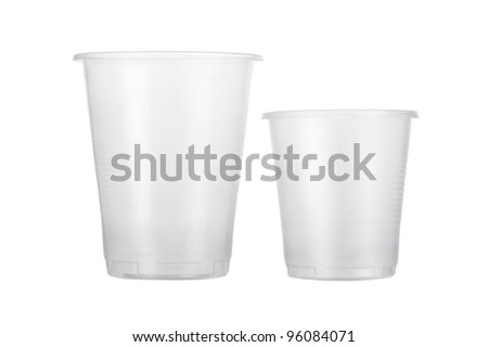 Two empty disposable plastic cup isolated on white background