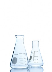 Two Empty Erlenmeyer flask on reflective isolated on  white background with clipping path, Chemical laboratory glassware and Scientific equipment concept