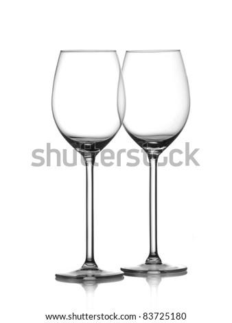 Two empty glasses of wine