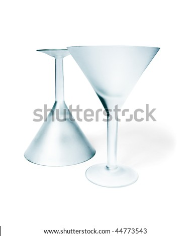 Two empty matte martini  glass isolated on white