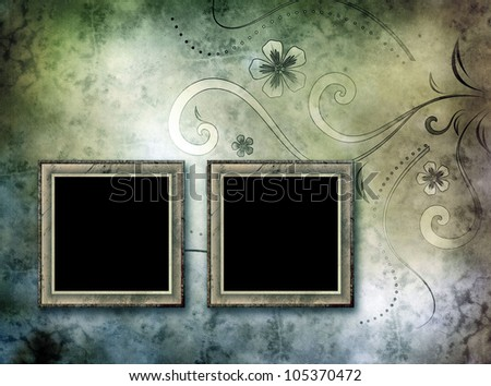 two empty vintage frames on old paper background