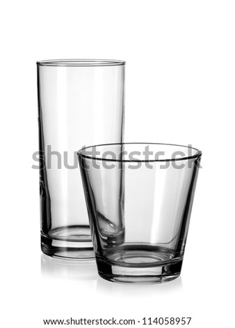 Two empty water glasses