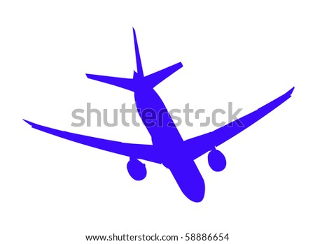 Two-engine jet airliner in the air, blue isolated on white background