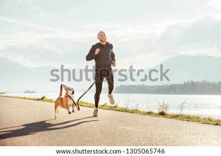 Two enthusiastic joggers: man and his beagle dog have a jogging at the morning time #1305065746