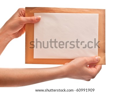 Two envelopes in woman's hands. Isolated on white background