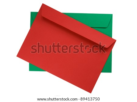 Two envelopes isolated on a white background