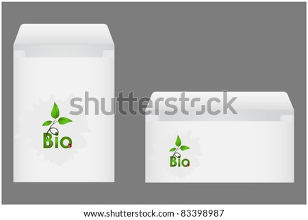 Two envelopes with green shoots and ladybug on blot executed in corporate style