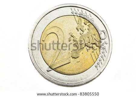 Two euro coin close up isolated on white