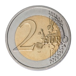 two euro coin closeup on white background