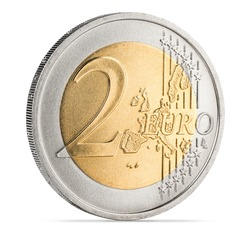 two euro coin isolated on white background finance currency symbol