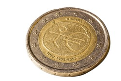 Two Euro coin shot with macro lens and isolated on a white background