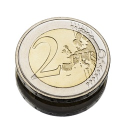 two euro coin worn on white