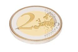 two euro on white background
