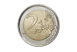 Two euros coin on white background