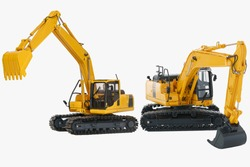 Two Excavator loader  model with isolated on  a white background