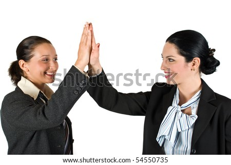 Two excited businesswoman team  give high five concept of successful business isolated on white background