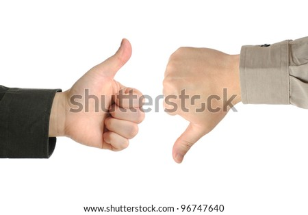 Two executives or businessmen disagreeing over a deal or contract by using hand signals