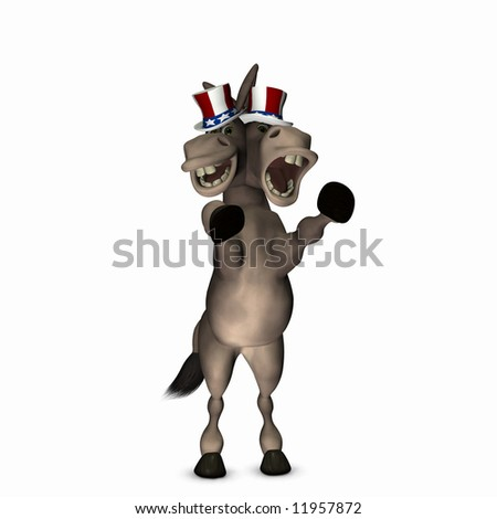 Two Faced Politician - Democrat Donkey with two faces. Political humor.