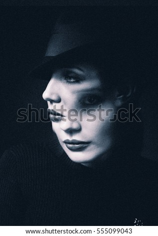Two-Faced Woman, Black and white photo, art #555099043