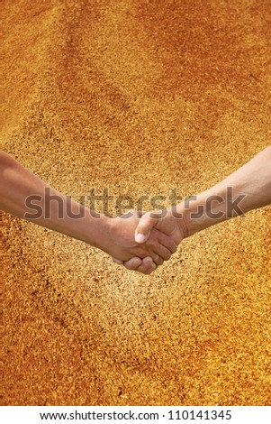 Two farmer's hands handshake against the background of the harvest of wheat.