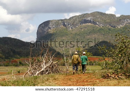 Two farmers walking in a Vinales countryside in Cuba. Most Cubans live way below established poverty lines, the  issue is biggest in rural areas