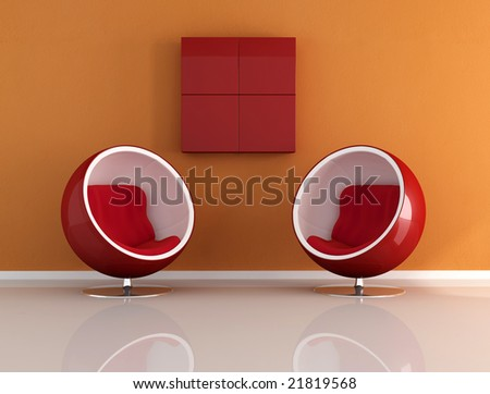 two fashion armchair ina orange room - digital artwork
