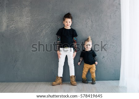 Two fashionable brother. They are stylish and beautiful. Growing generation. #578419645