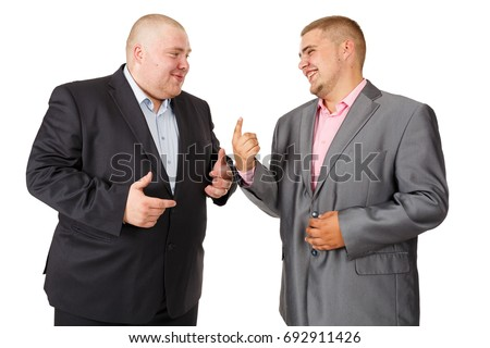 Two fat businessman. Two Businessman White Isolated. Two businessmen are talking. The conversation about the business. Portrait of a Russian businessman. Smile #692911426