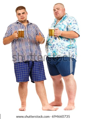 Two fat guy in beach shirts and shorts with a glass of beer on white  isolated