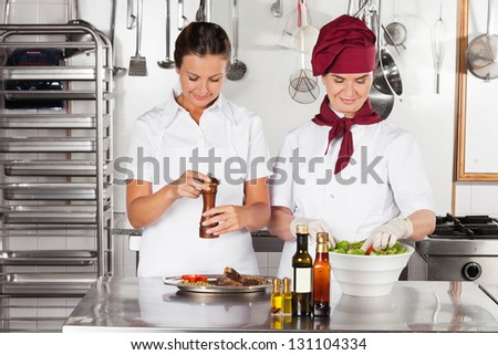 Two female chefs preparing food in commercial kitchen - stock photo