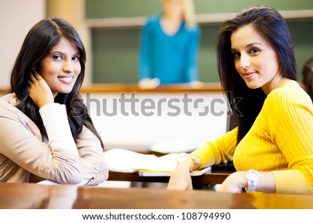 two female college students in classroom
