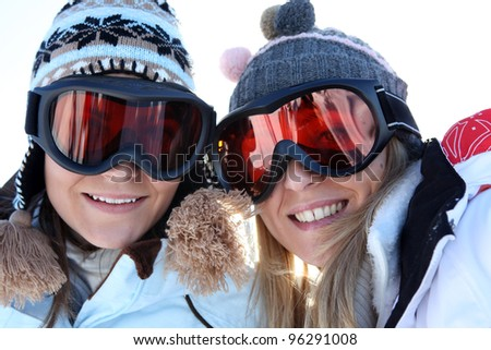Two female friends in ski clothing