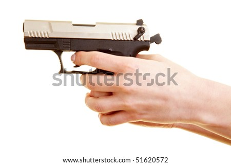 Two Female Hands Holding A Pistol Ready To Shoot Stock ...