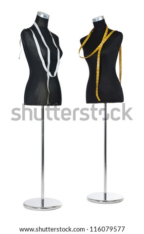 Two female mannequin with a tape measure on white background. File contains a path to isolation.