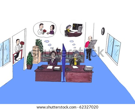 Tremendous Two Female Office Workers Each Sitting At Desks Side By Side In A Largest Home Design Picture Inspirations Pitcheantrous