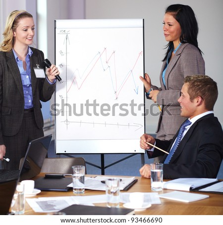 Two females standing and present graph on flipchart during business meeting, have an argue with man sitting at conference table