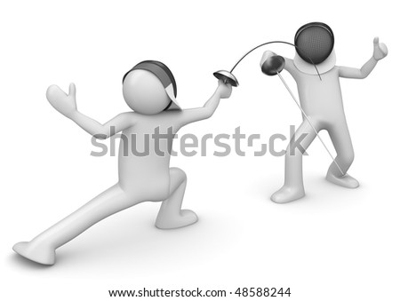 Two fencers (3d isolated on white background characters series) - stock photo
