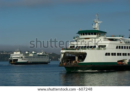 Two ferries in Seattle harbor