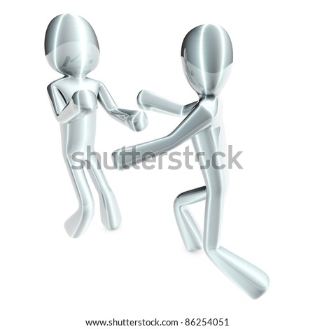 Two fighting Cartoon figures. 3D rendered Illustration. Isolated on white.