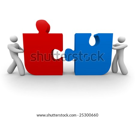 Two figures push a red and blue puzzle piece together