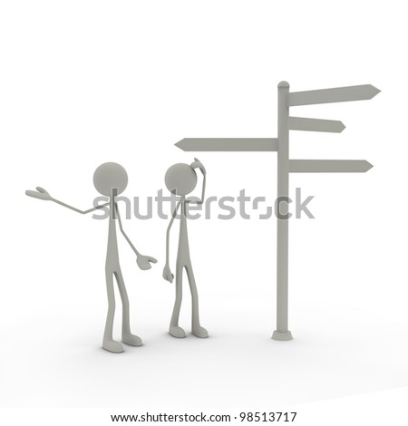 two figures stand in front of a direction sign - perplexed