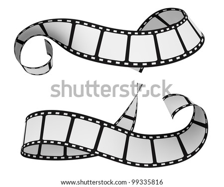 two film strip isolated on white (3d render)